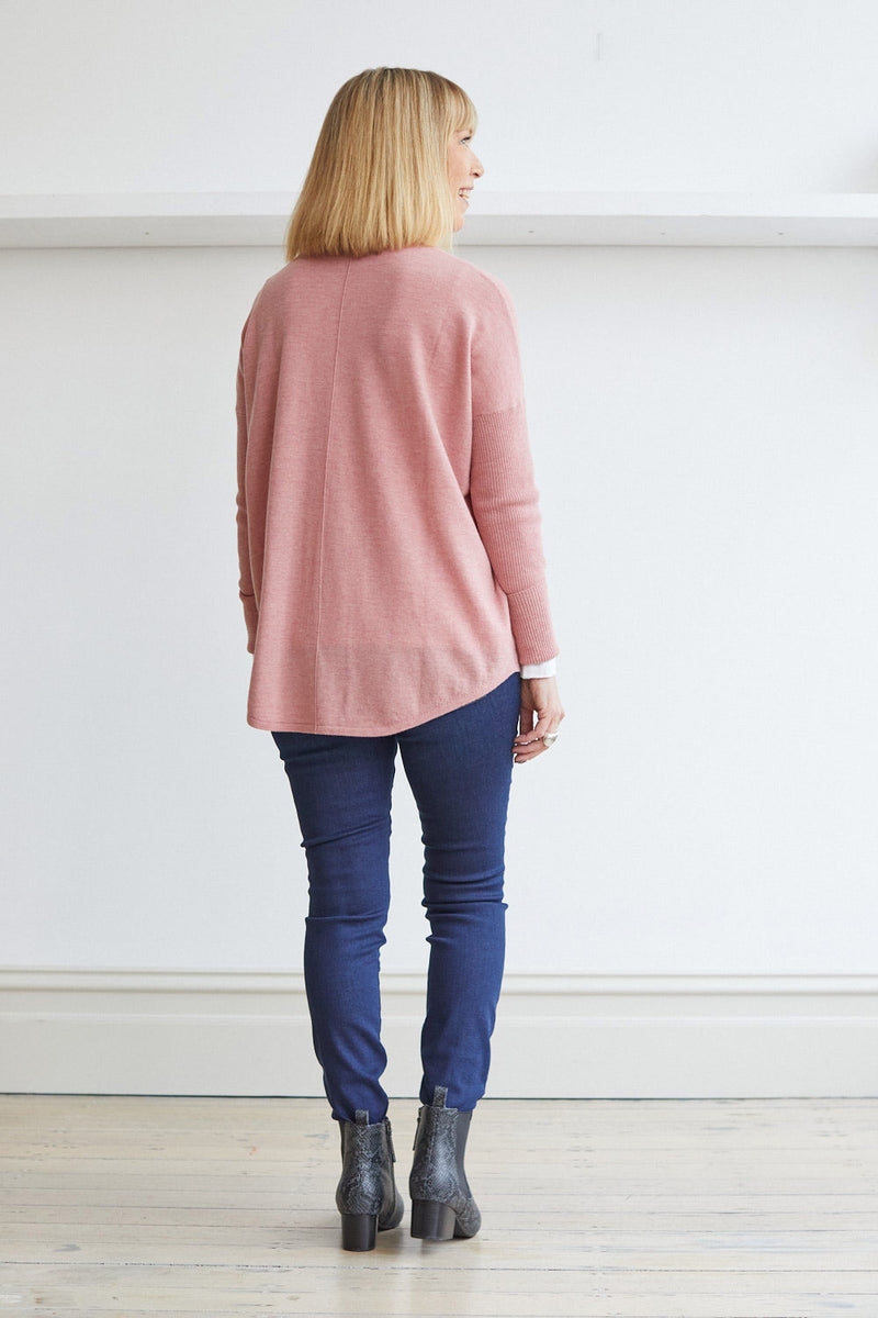 Curved Hem Crew Neck Sweater, Dusty Pink