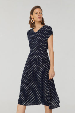 Bubble Dot Midi Dress, Dark Navy