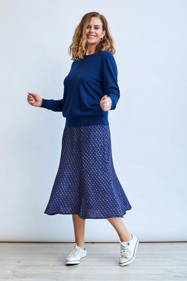 Dot Print Skirt, Navy