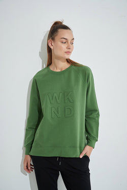 WKND embossed light sweat, Dark Olive