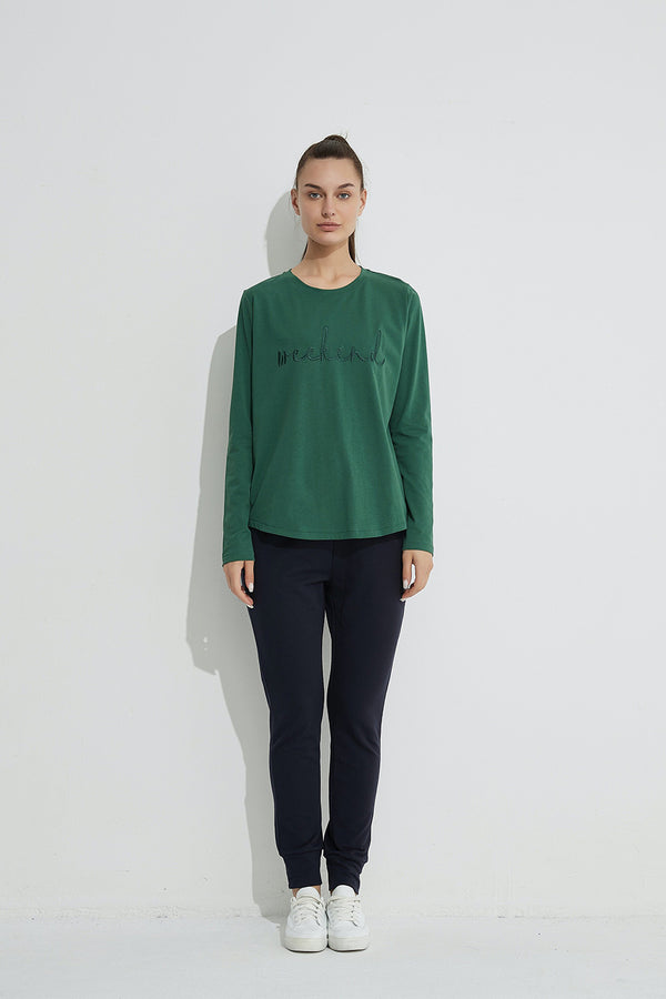 Weekend Embroidered Tee, Green