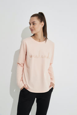 Weekend Embroidered Tee, Pink