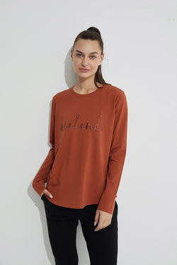 Weekend Embroidered Tee, Rust