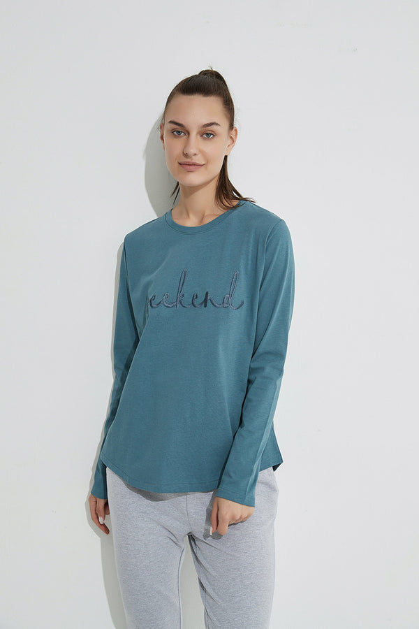 Weekend Embroidered Tee, Steel Blue