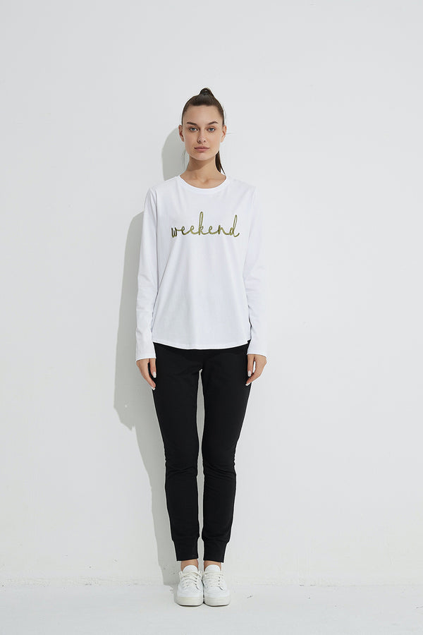 Weekend Embroidered Tee, White