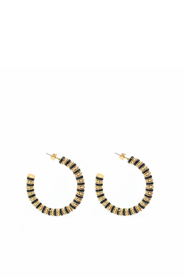 Frida Hoop Earrings, Black