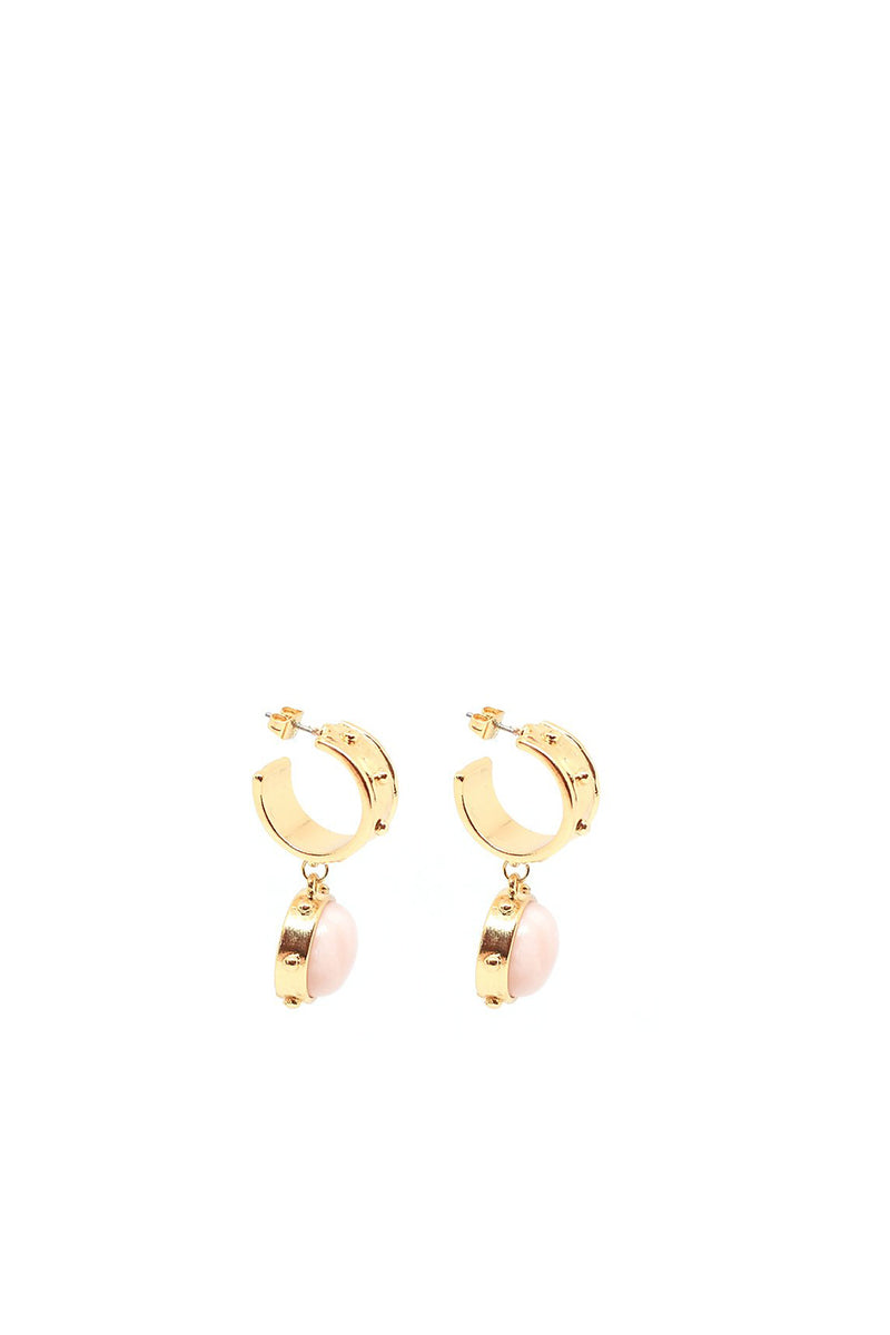 Gabriella Hoop Drop Earrings, Rose Quartz