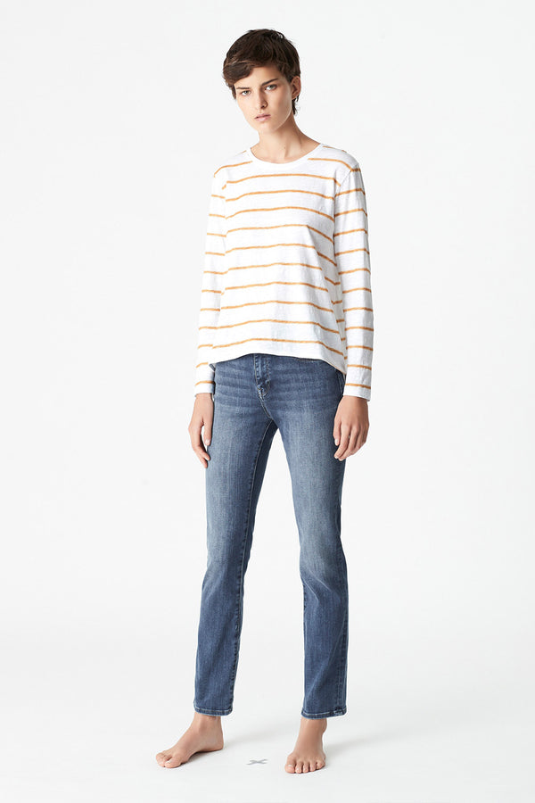 Gayle Stripe Long Sleeve Tee, Marigold Stripe