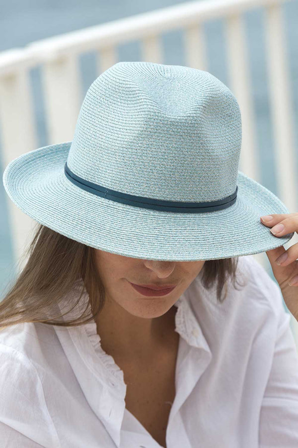 Foldable Borsolino Hat, Celeste Blue