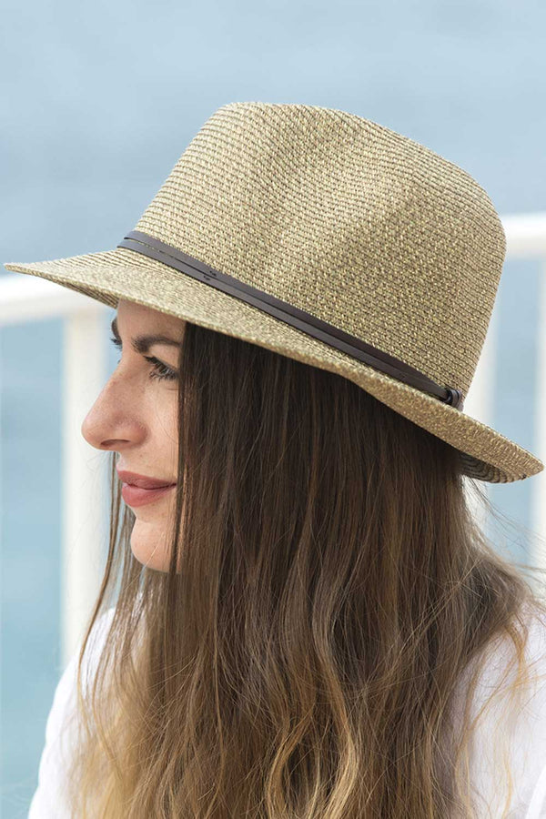 Foldable Borsolino Hat, Coffee