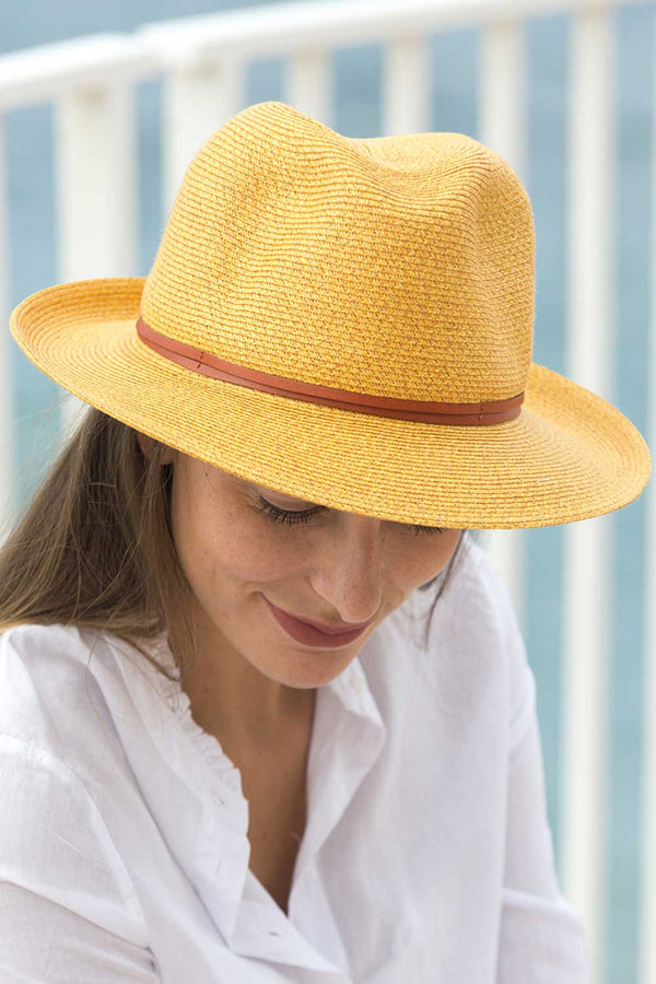 Foldable Borsolino Hat, Curry