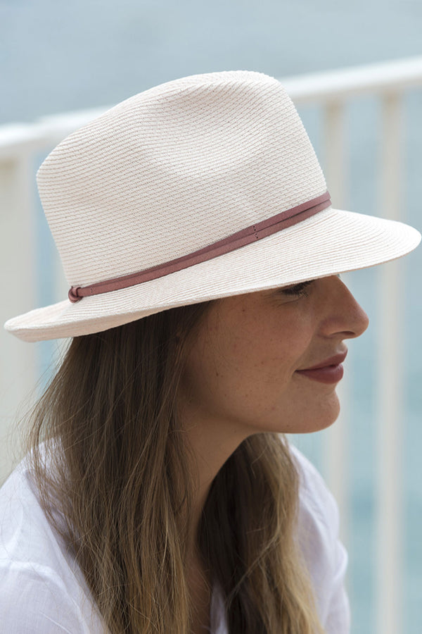 Foldable Borsolino Hat, Powder Pink