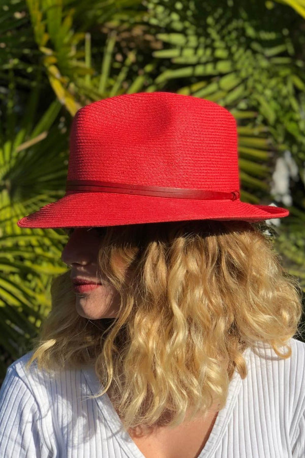 Foldable Borsolino Hat, Watermelon Red