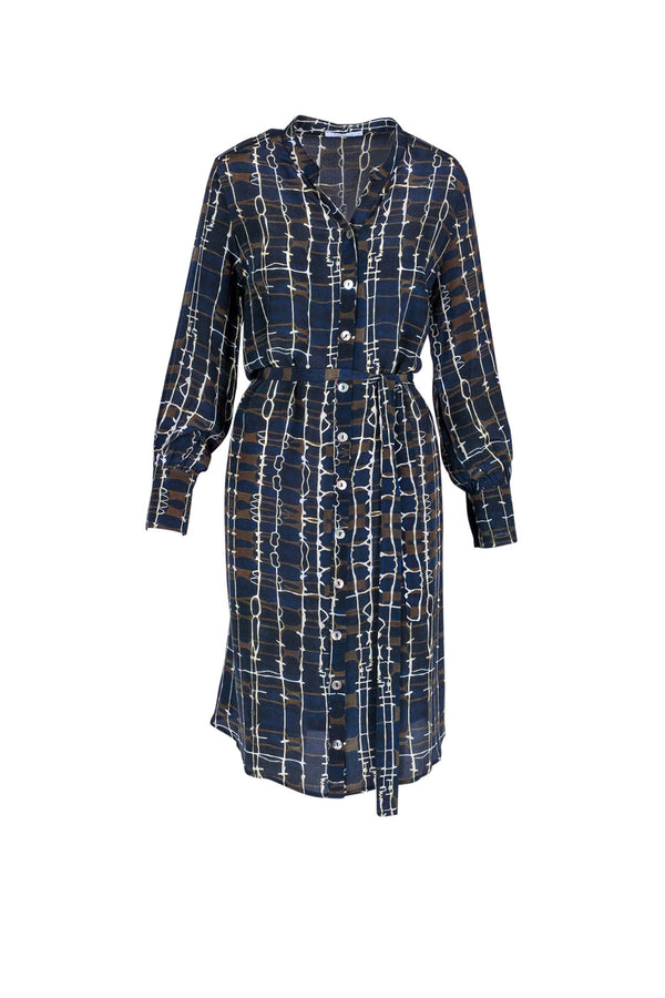 Mandarin Shirt Dress, Mirage Print