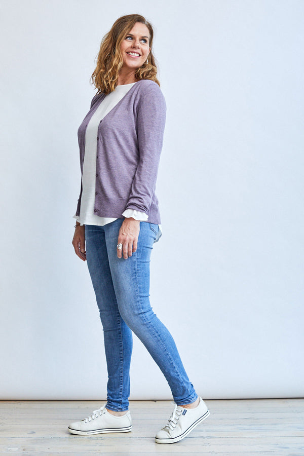Mauve Cardi with Buttons