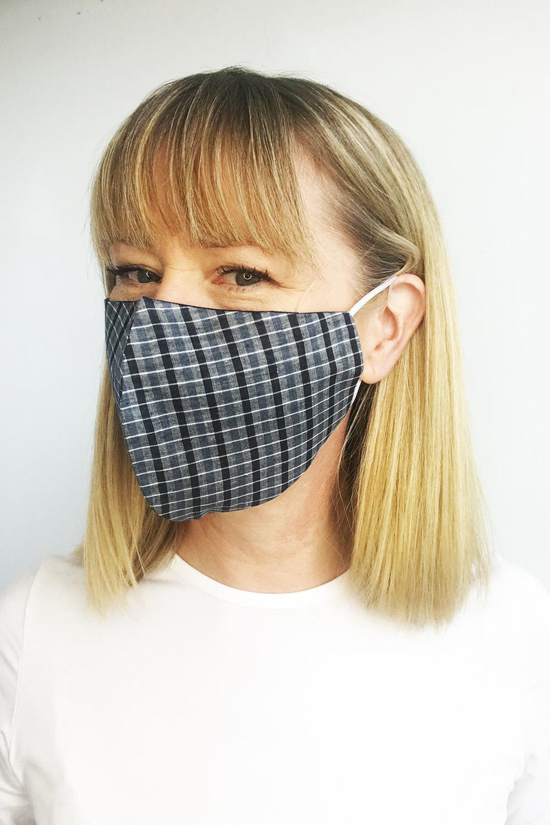 Mask, Cotton Navy Check