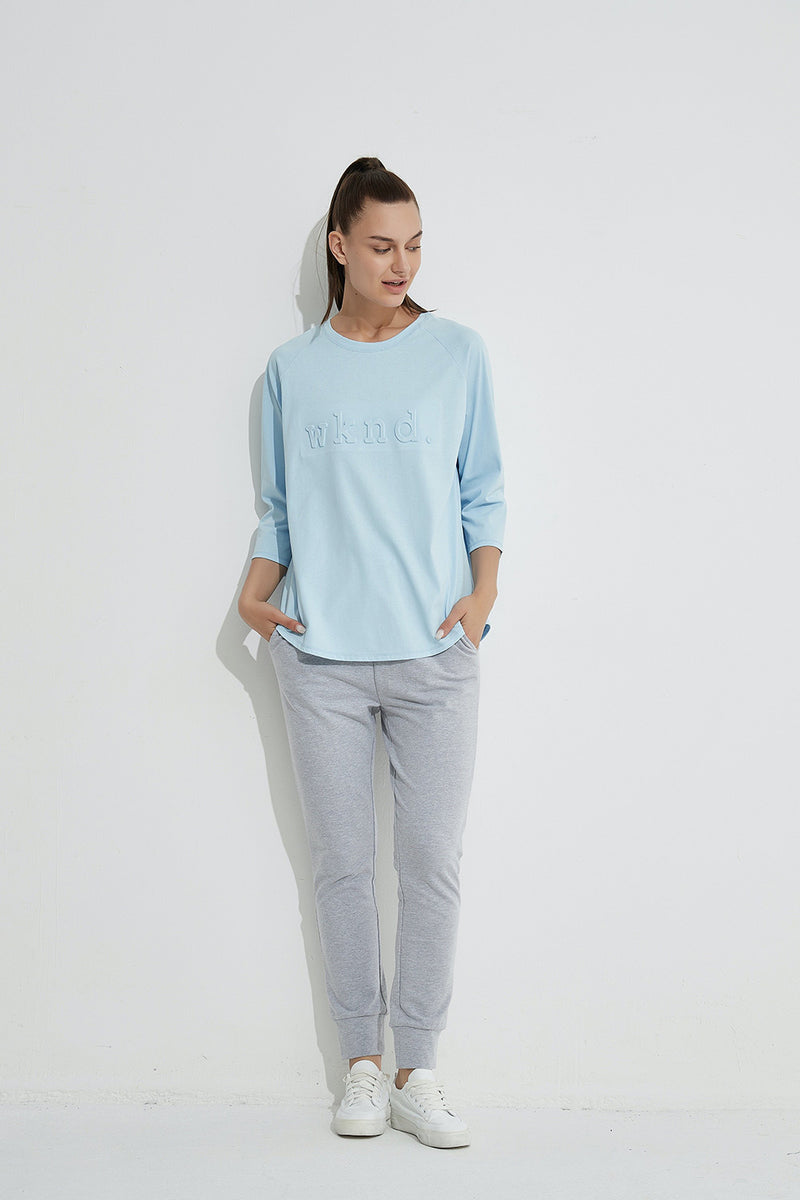 WKND 3/4 sleeve tee, Pale Blue