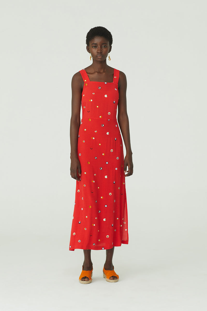 Swedish Dot Midi Dress, Red