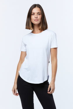 Saddle Hem Tee, White