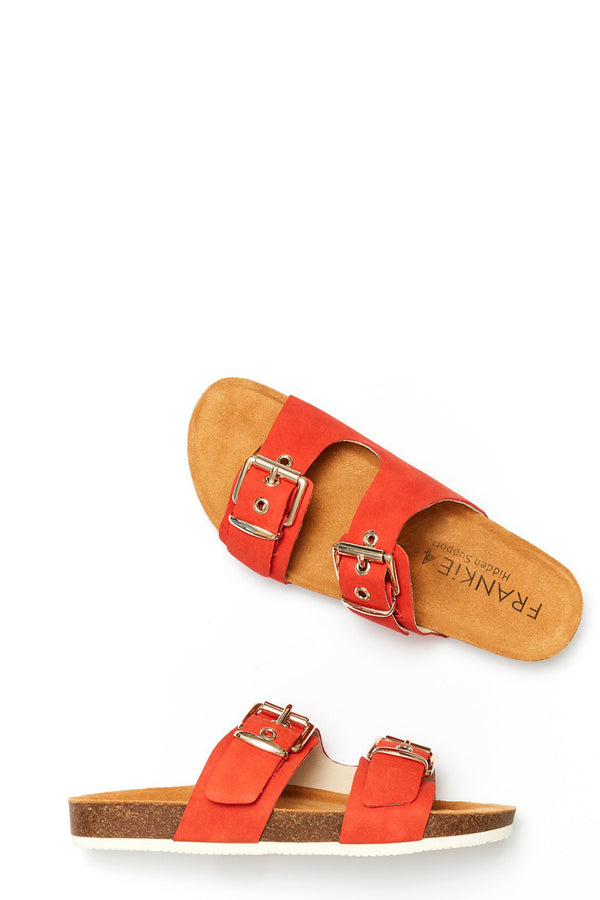 Sandy Buckle Slide, Burnt Orange Nubuck