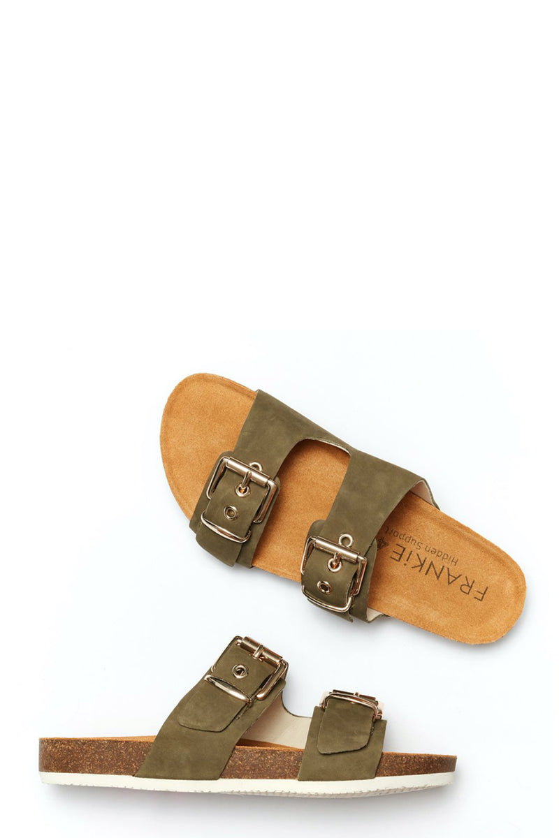 Sandy Buckle Slide, Olive