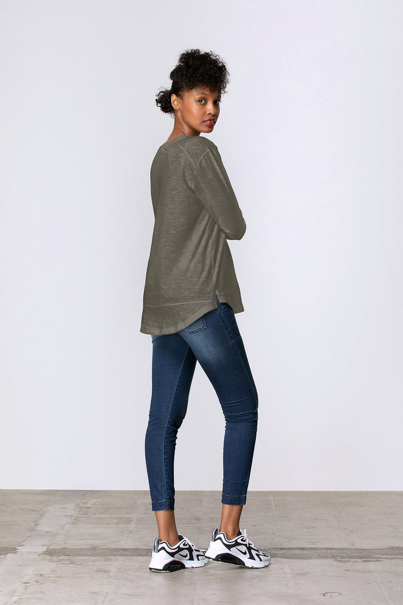 Long Sleeve Side Split Tee, Khaki