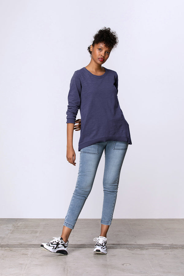 Long Sleeve Side Split Tee, Midnight