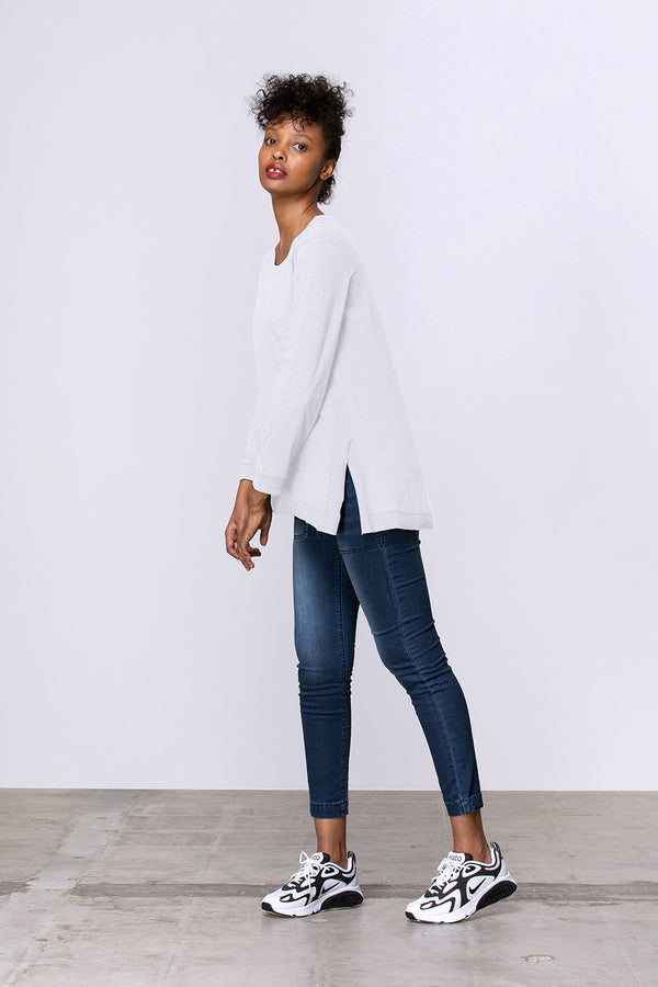 Long Sleeve Side Split Tee, White