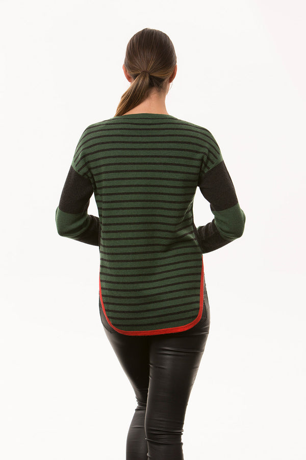 Stripe Curved Hem Sweater, Green/Charcoal