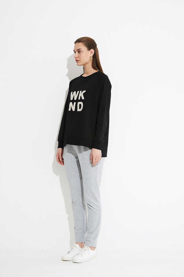 WKND Sweat with Terry, Black