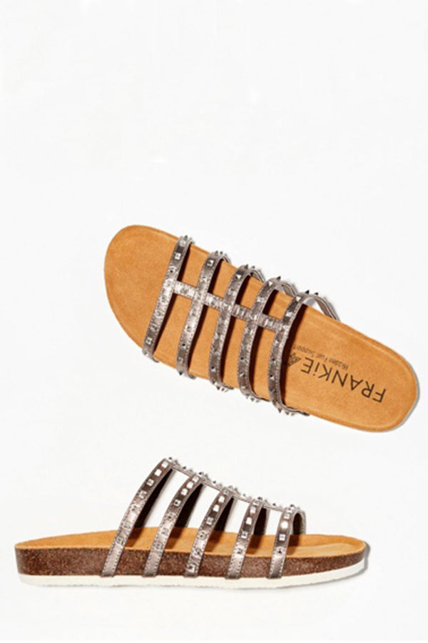 Tori Studded Slide Sandal, Pewter