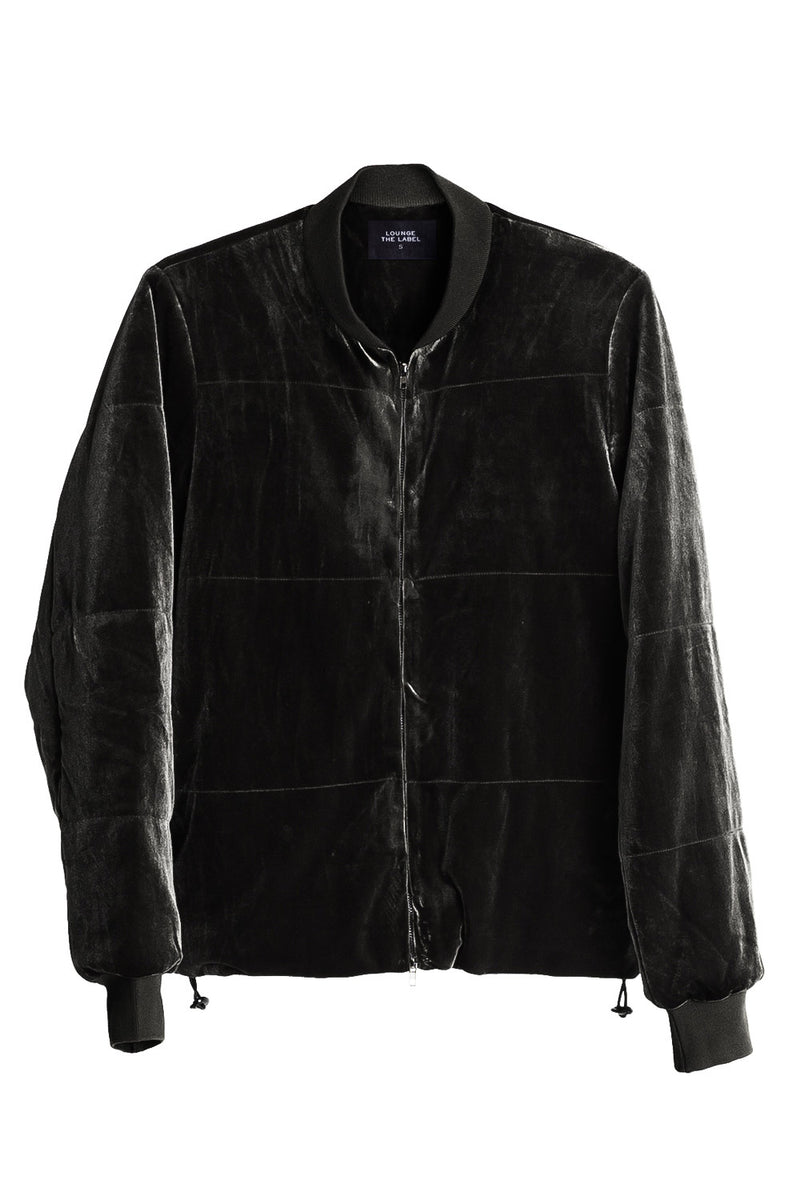 Trimbach Velour Bomber Jacket, Black