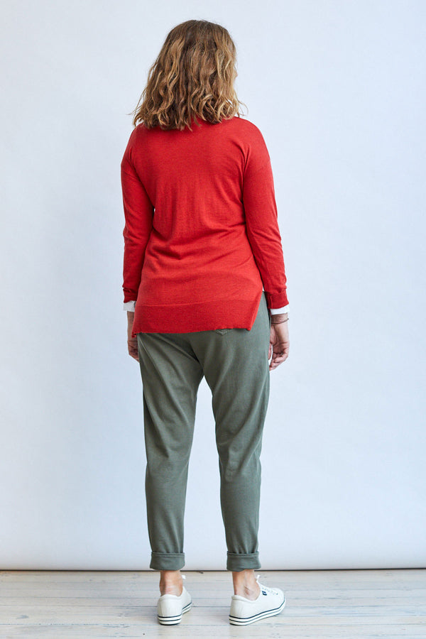 Vee Neck Sweater, Red