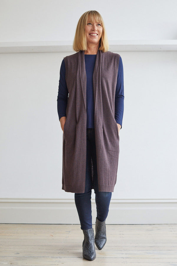 Longline Vest with Pockets, Aubergine