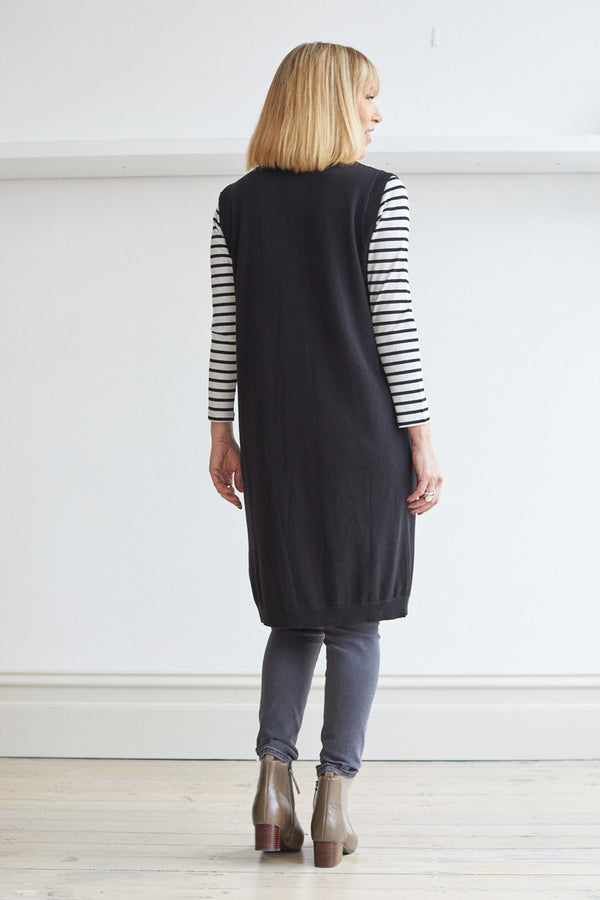 Longline Vest with Pockets, Black