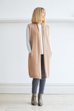 Longline Vest with Pockets, Almond