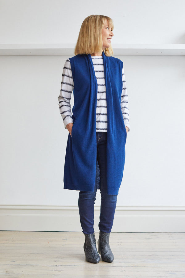 Longline Vest with Pockets, Navy