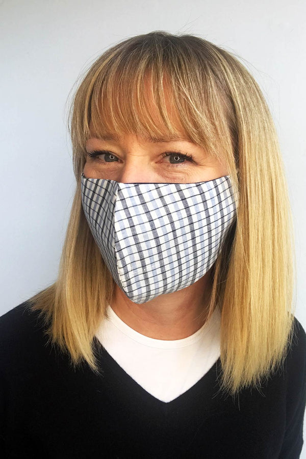 Mask, Cotton White Check