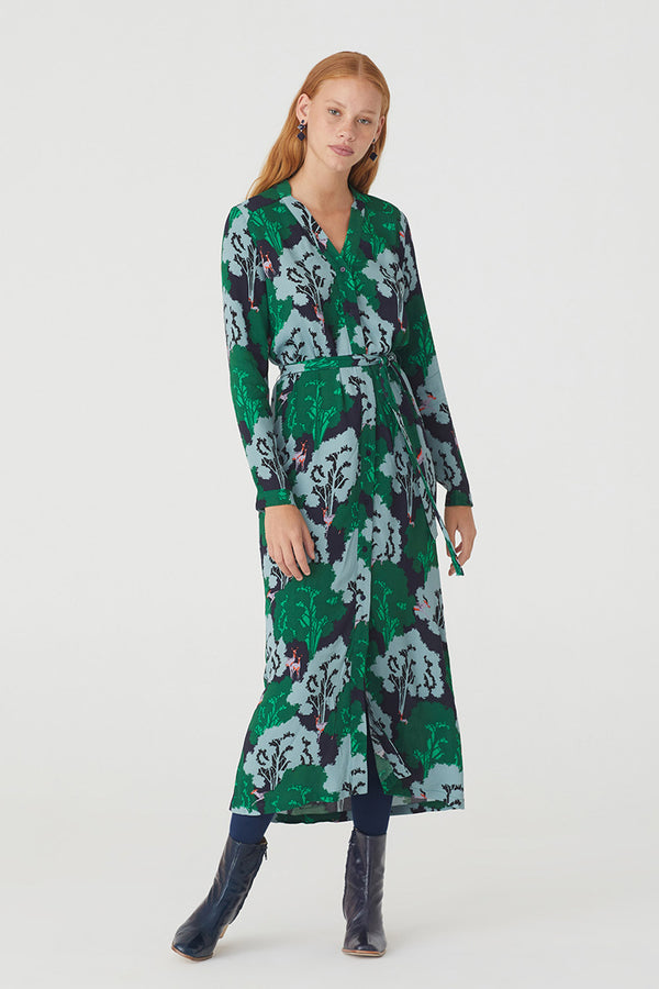 Woodlands Print Long Dress