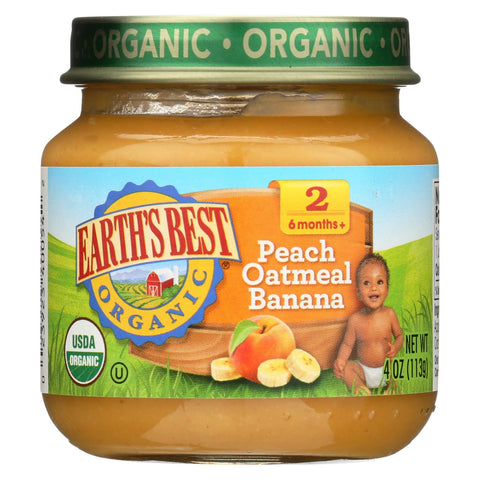 Earth's Best Organic Peach Oatmeal Banana Baby Food - Stage 2 - Case Of 12 - 4 Oz.