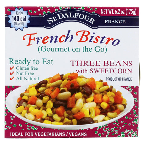 St Dalfour Gourmet On The Go - Ready To Eat - Three Beans With Sweetcorn - 6.2 Oz - Case Of 6