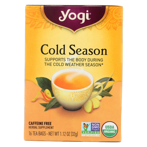 Yogi Organic Cold Season Herbal Tea Caffeine Free - 16 Tea Bags - Case Of 6