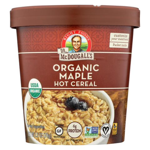 Dr. Mcdougall's Organic Maple Hot Cereal Cup - Case Of 6 - 2.5 Oz.