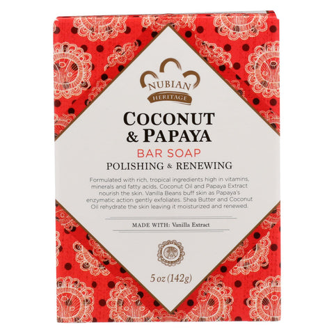 Nubian Heritage Bar Soap Coconut And Papaya With Vanilla Beans - 5 Oz