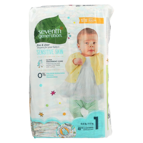 Seventh Generation Free And Clear Baby Diapers - Stage 1 - Case Of 4 - 40 Count