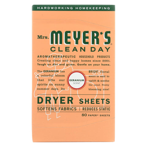 Mrs. Meyer's Clean Day - Dryer Sheets - Geranium - 80 Sheets