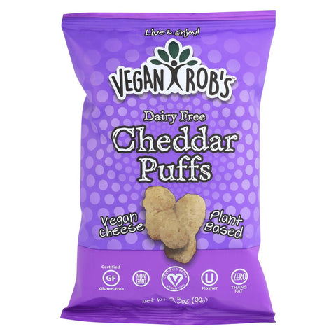 Vegan Rob's Dairy Free Puffs - Cheddar - Case Of 12 - 3.5 Oz