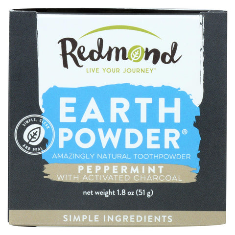 Redmond Earthpowder Toothpowder, Peppermint With Charcoal  - 1 Each - 1.8 Oz