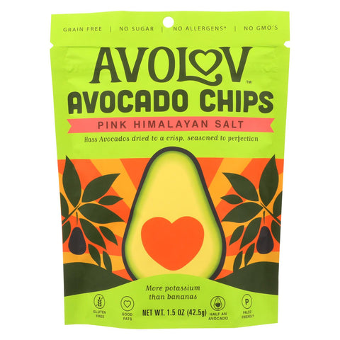 Avolov - Avocado Chips - Pink Himalayan Salt - Case Of 12 - 1.5 Oz.
