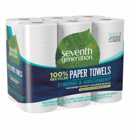 Seventh Generation 100% Recycled Paper Towels- White- Pack of 6 rolls